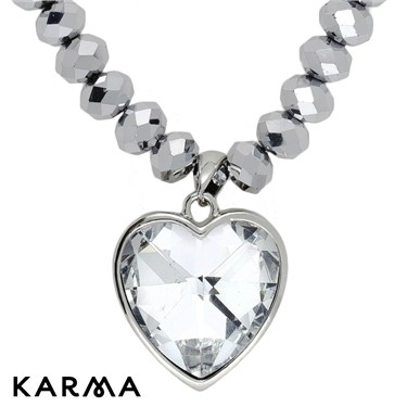 Karma Metallic Crystal Heart Necklace