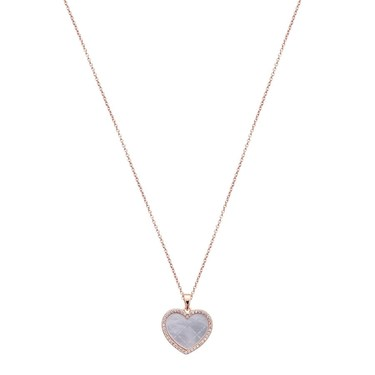 Argento Rose Gold Mother Of Pearl Heart Necklace  - Click to view larger image