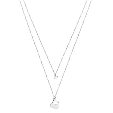Argento Silver Layered Double Heart Necklace  - Click to view larger image