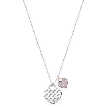 Argento Silver Love Script Lock Necklace  - Click to view larger image
