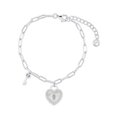 Argento Mother Of Pearl Heart Padlock Bracelet   - Click to view larger image