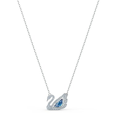 Swarovski Dancing Swan Silver + Blue Necklace  - Click to view larger image