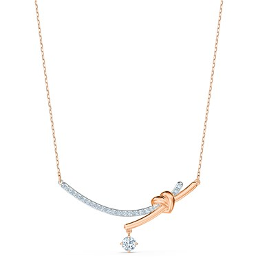 Swarovski Lifelong Rose Gold Heart Bar Necklace  - Click to view larger image