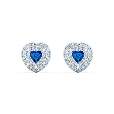 Swarovski One Blue Heart Earrings  - Click to view larger image