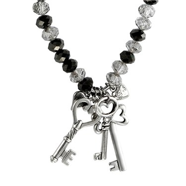 Karma Black Crystal Keys Necklace
