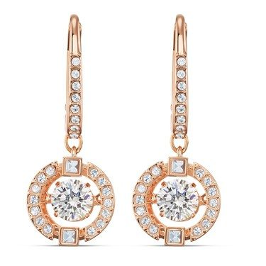 Swarovski Sparkling Dance Rose Gold Drop Earrings   - Click to view larger image