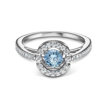 Swarovski Sparkling Dance Blue Round Ring Size 55  - Click to view larger image