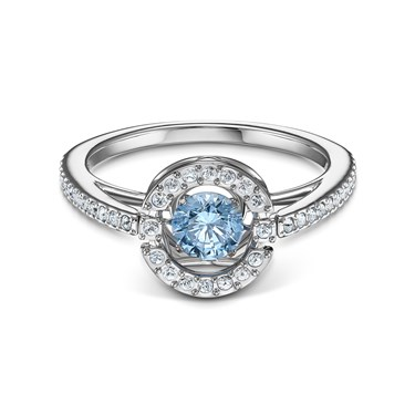 Swarovski Sparkling Dance Blue Round Ring Size 58  - Click to view larger image
