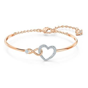 Swarovski Infinity Rose Gold Heart Bracelet   - Click to view larger image
