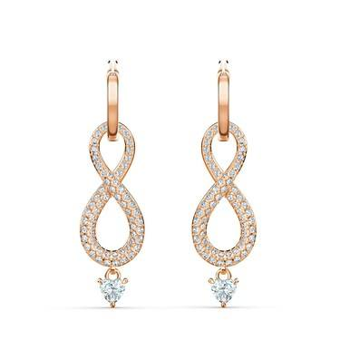 Swarovski Infinity Rose Gold Drop Earrings  - Click to view larger image