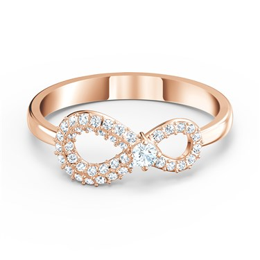 Swarovski Infinity Rose Gold Ring Size 55   - Click to view larger image