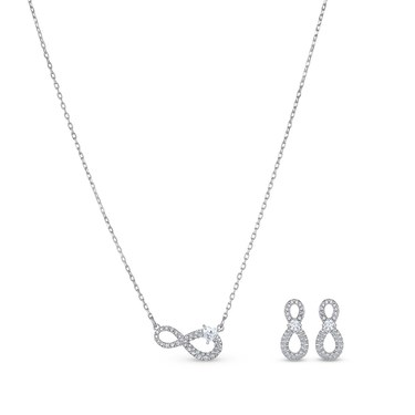 Swarovski Infinity Silver Set   - Click to view larger image