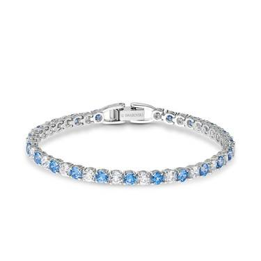 Swarovski Tennis Silver + Blue Deluxe Bracelet   - Click to view larger image