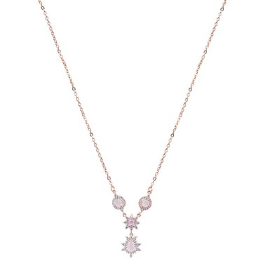August Woods Rose Gold Dainty Blush Drop Necklace - Rose Gold