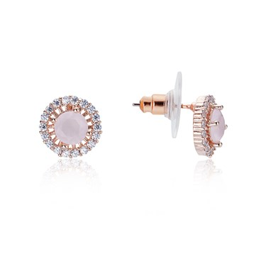 August Woods Rose Gold Dainty Blush Stud Earrings   - Click to view larger image