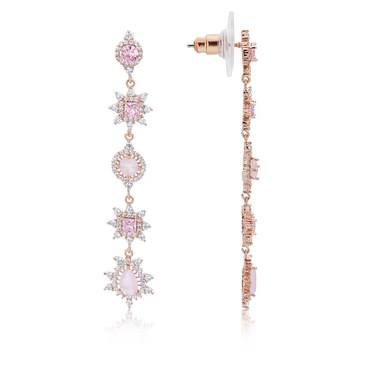 August Woods Rose Gold Dainty Blush Drop Earrings  - Click to view larger image