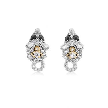 Vivienne Westwood Silver Crystal Rat Earrings  - Click to view larger image