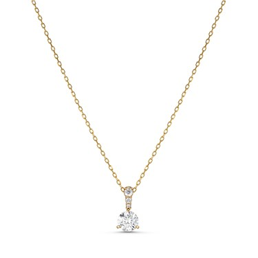 Swarovski Solitaire 7mm Gold Necklace   - Click to view larger image