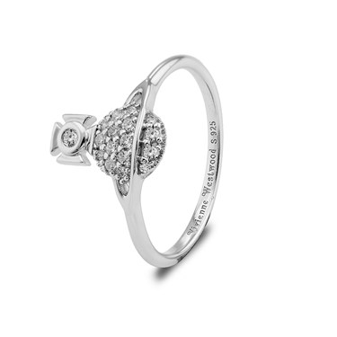 Vivienne Westwood Silver Crystal Tamia Ring   - Click to view larger image