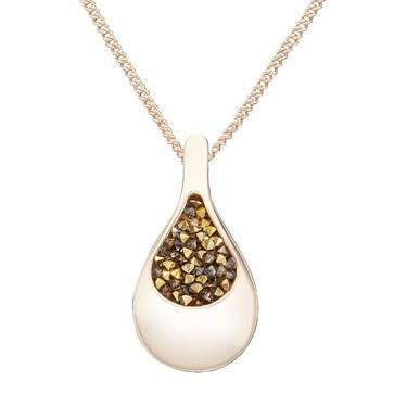 August Woods Rose Brown Minerals Teardrop Necklace - Rose Gold