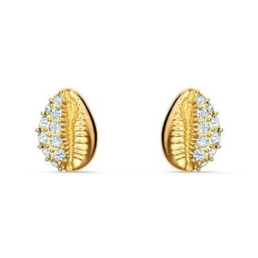 Swarovski Shell Gold Stud Earrings  - Click to view larger image