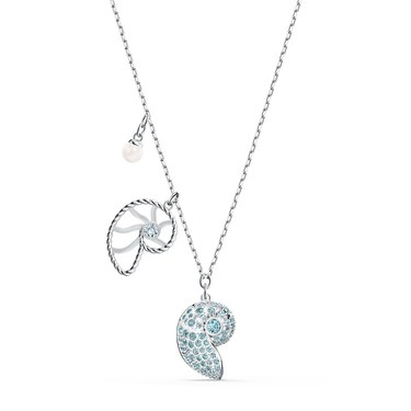 Swarovski Shell Blue + Silver Necklace  - Click to view larger image