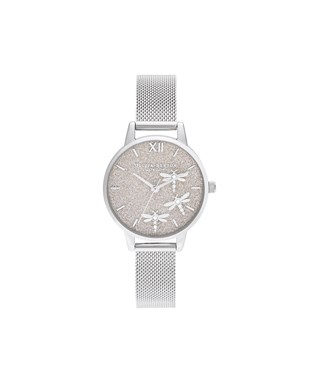 Olivia Burton Dancing Dragonfly Glitter Silver Mesh Watch  - Click to view larger image