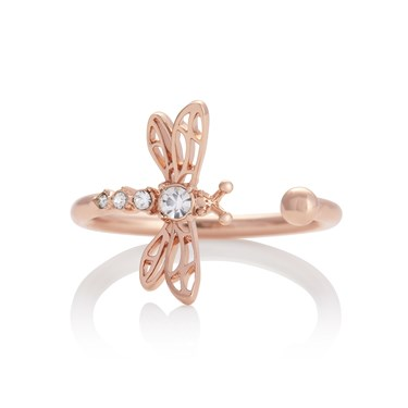 Olivia Burton Dancing Dragonfly Rose Gold Adjustable Ring   - Click to view larger image