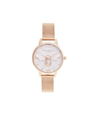 Olivia Burton Lucky Bee & Rose Gold Mesh Glitter Watch  - Click to view larger image
