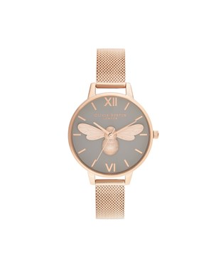 Olivia Burton Lucky Bee Grey + Rose Gold Mesh Watch   - Click to view larger image