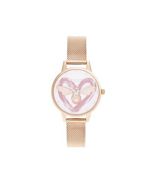 Olivia Burton Lucky Bee Heart Rose Gold Mesh Watch  - Click to view larger image