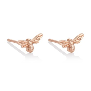 Olivia Burton Lucky Bee Rose Gold Earrings  - Click to view larger image