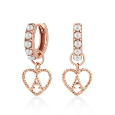 Olivia Burton Rose Gold Pearl A Initial Huggie Earrings  - Click to view larger image