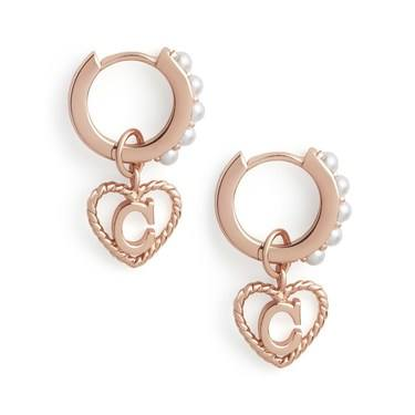 Olivia Burton Rose Gold Pearl C Initial Huggie Earrings  - Click to view larger image