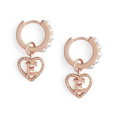 Olivia Burton Rose Gold Pearl E Initial Huggie Earrings  - Click to view larger image