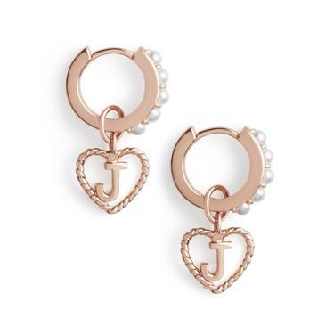 Olivia Burton Rose Gold Pearl J Initial Huggie Earrings  - Click to view larger image
