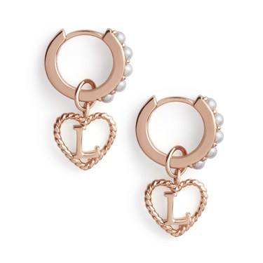 Olivia Burton Rose Gold Pearl L Initial Huggie Earrings  - Click to view larger image