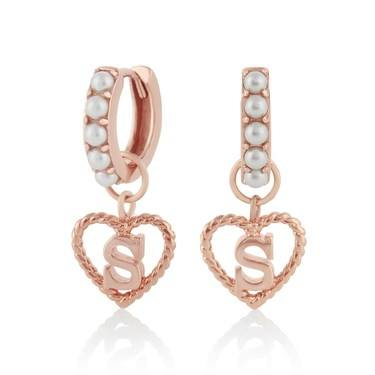 Olivia Burton Rose Gold Pearl S Initial Huggie Earrings  - Click to view larger image