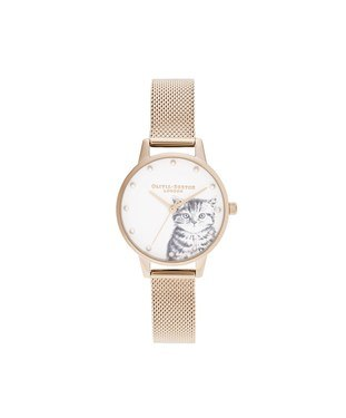 Olivia Burton Pearly Kitten Pale Rose Gold Mesh Watch   - Click to view larger image