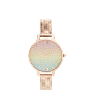 Olivia Burton Rainbow Glitter Dial Rose Gold Mesh Watch   - Click to view larger image