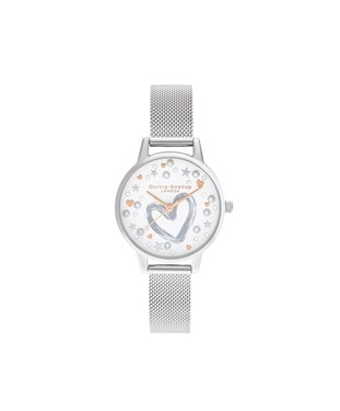 Olivia Burton You Have My Heart Silver Mesh Watch  - Click to view larger image