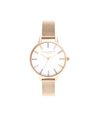 Olivia Burton Rainbow Rose Gold Mesh Watch   - Click to view larger image
