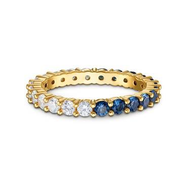Swarovski Vittore Gold Blue + White Ring Size 58  - Click to view larger image