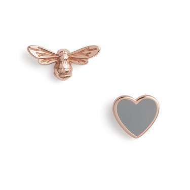 Olivia Burton You Have My Heart Grey & Rose Gold Earrings  - Click to view larger image