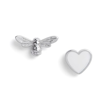 Olivia Burton You Have My Heart White & Silver Earrings  - Click to view larger image