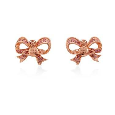 Vivienne Westwood Rose Gold Bow Gail Earrings  - Click to view larger image
