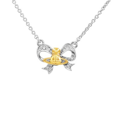 Vivienne Westwood Silver Bow Gail Necklace  - Click to view larger image