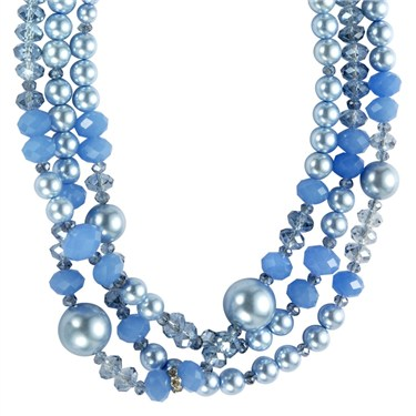 Karma Layered Blue Bead Necklace
