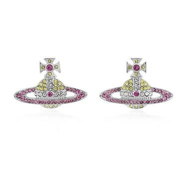 Vivienne Westwood Silver + Pink Kika Earrings  - Click to view larger image