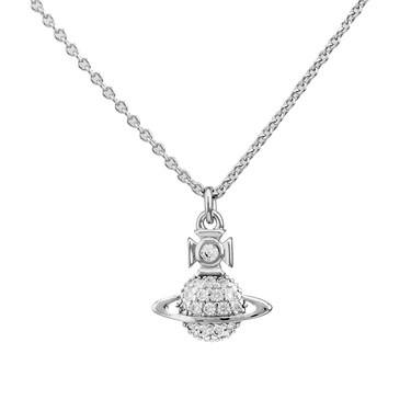 Vivienne Westwood Silver Crystal Tamia Necklace  - Click to view larger image